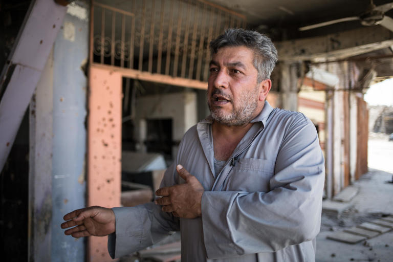 "Photo : Tom Peyre-Costa  Taha Ahmed, Former owner of a sound recording studio is currently jobless in West Mosul. ""ISIS confiscated the recording devices from my studio so I made it a falafel shop, but since the retaking of Mosul I am jobless and I have a family to feed. There are no jobs, the streets are still laced with rubbles, and nobody care about us. They only promise but do nothing"". The stores are empty, there are no job opportunities and we don't know what to do for a living. It has been one year since the retaking of Mosul and nothing has changed. Taha says: ""80% of Mosul population is jobless. No one is supporting the people. If the government and the international community does not provide help, the situation in Nineveh will get worse""."